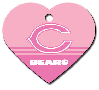 Chicago Bears Pink Heart Dog ID Tag