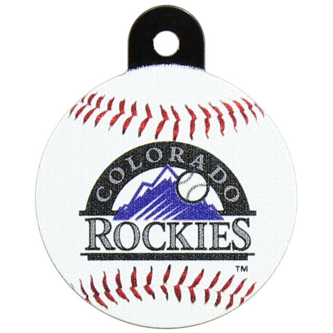 Colorado Rockies Round Baseball Dog ID Tag