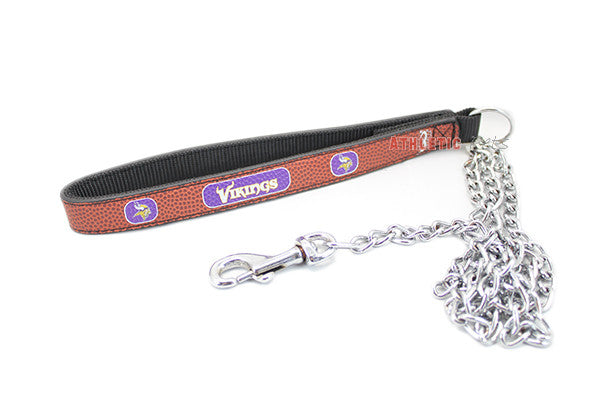 Minnesota Vikings Leather and Chain Dog Leash