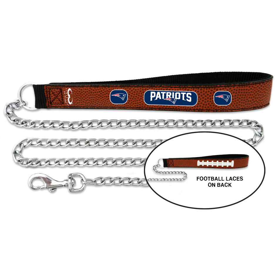 New England Patriots Leather and Chain Dog Leash