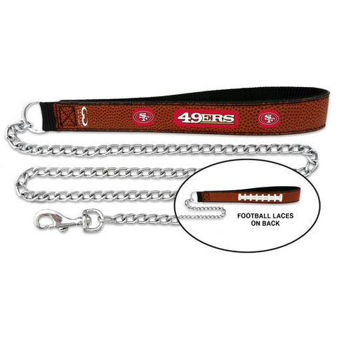 San Francisco 49ers Leather and Chain Dog Leash