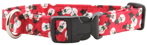 Red Snowmen Dog Collar