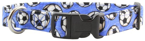 Blue Soccer Ball Dog Collar