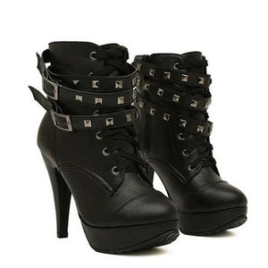 Gothic Ankle Double Buckle High Heels - Gothic Avenue