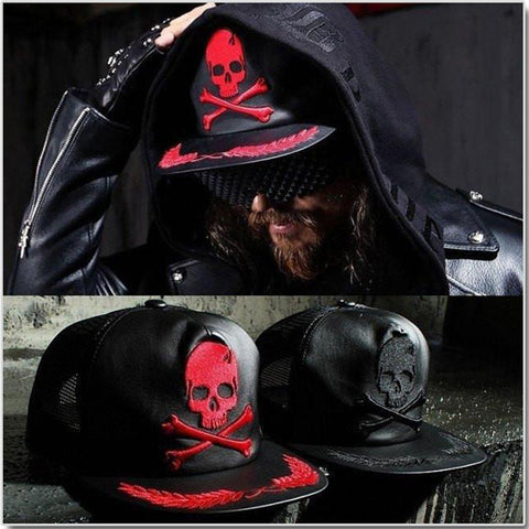 Leather Skull Cap - Gothic Avenue