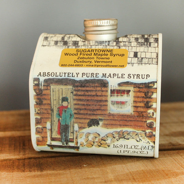 Maple Syrup in Tin Log Cabin Pint