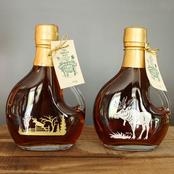 Maple Syrup in Deer or Moose Decorative Glass Bottle