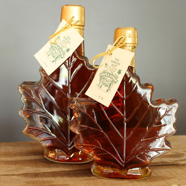Maple Syrup in Glass Maple Leaf Bottle