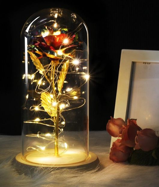 Eternal Glass Dome Rose W/ LED Lighting