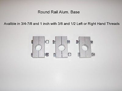 2- piece round rail clamp on bases.  Pack of 3