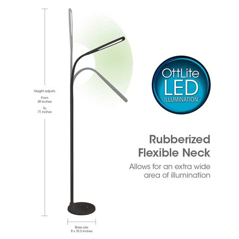 Ottlite LED Black Flex Floor Lamp
