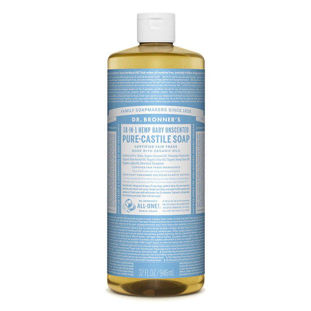 Dr. Bronner's Pure Castile Soap - Unscented Baby Mild - 32oz. Bottle