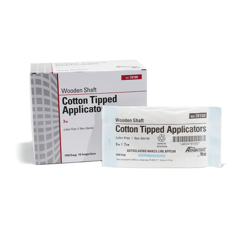 "Cotton Tip Applicators - NON-STERILE - 3"" Long"