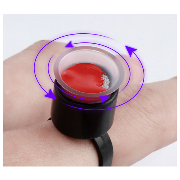 Finger Ring Ink Cup Holder - Black - 50/bag