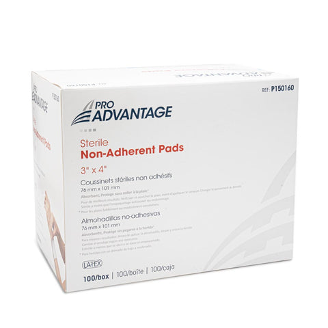 "Non-Adherent Sterile Pads  -  3"" x 4"", 100 Box"