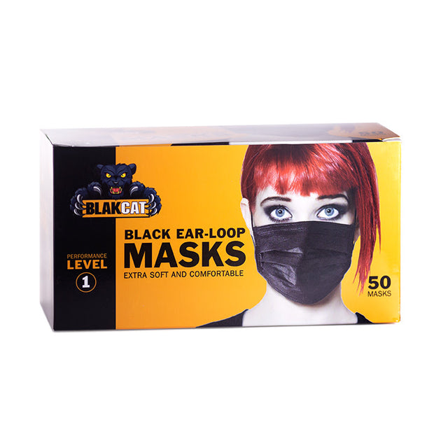 EAR-LOOP FACE MASKS - BLACK