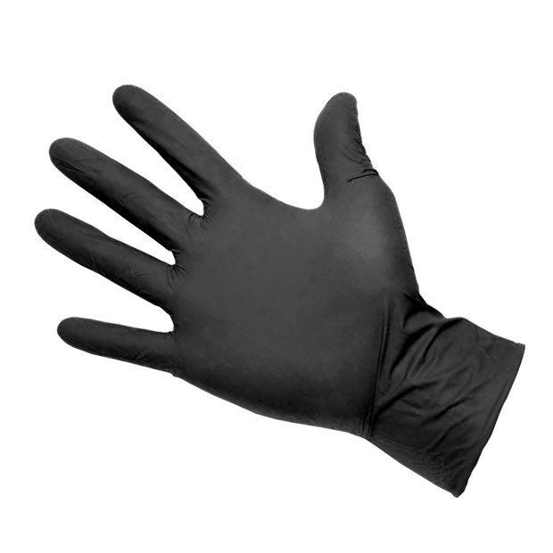 Strong Classic Black Disposable Nitrile Gloves - 4gm - 100/bx