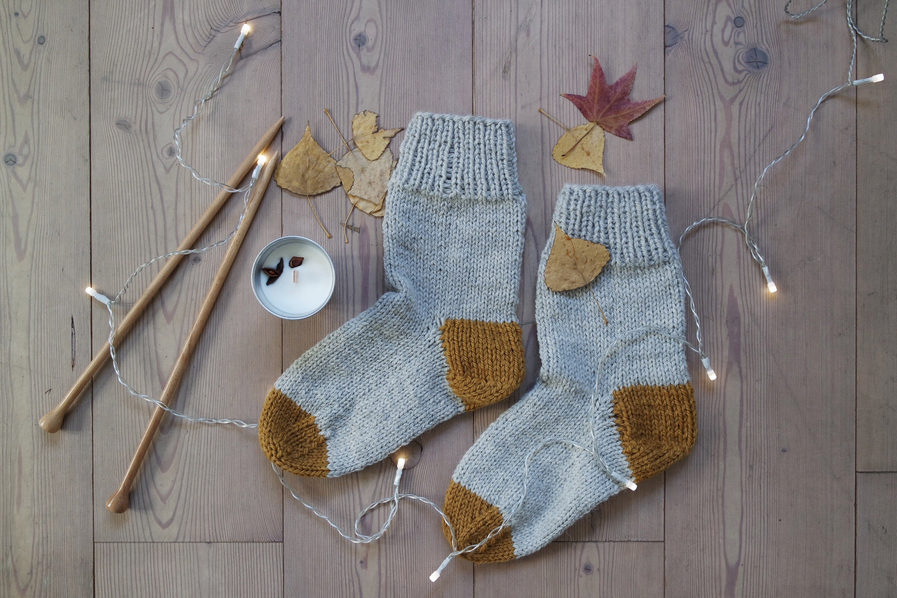 Minimal Rustic Socks - Grey and Mustard