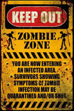 Zombie Keep Out Warning Poster Print Wall Art Large Maxi