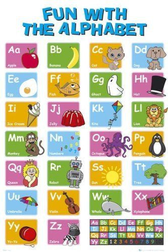 Educational Learn Your Alphabet Kids Childrens Poster Print Wall Art Large Maxi