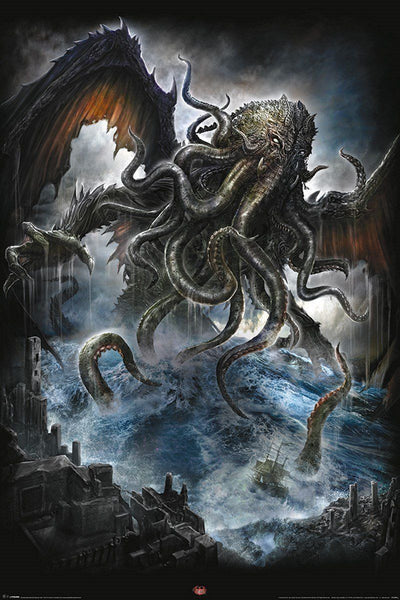Spiral Cthulhu Fantasy H. P. Lovecraft Poster Print Wall Art Large Maxi