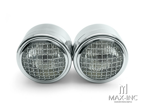 Chrome Twin Metal Headlight + Mesh Grill - 12v / 35w