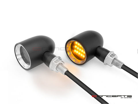 "MAX ""DERBY"" Black/Silver CNC Machined Mini LED Indicators"