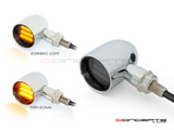 """DERBY"" Chrome + Black CNC Machined Classic LED Indicators"