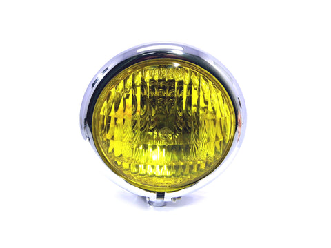 4.5 INCH Chrome Bates Style Metal Headlight - Yellow Lens