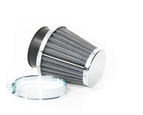 K&N STYLE CONE FILTER WITH CHROME END CAP - 35MM