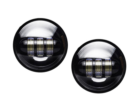 "MAX 4.5"" LED Passing Lights for Harley Davidson & Universal - Black Face"