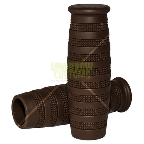 Lowbrow Customs Knurled Grips - Chocolate Brown - 1""