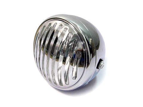 6.75 INCH Chrome Prison Bar Grill Metal Headlight - H4 / 55w Halogen Bulb
