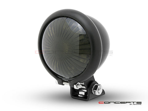 Matte Black Mini Bates LED Stop / Tail Light - Smoked Lens