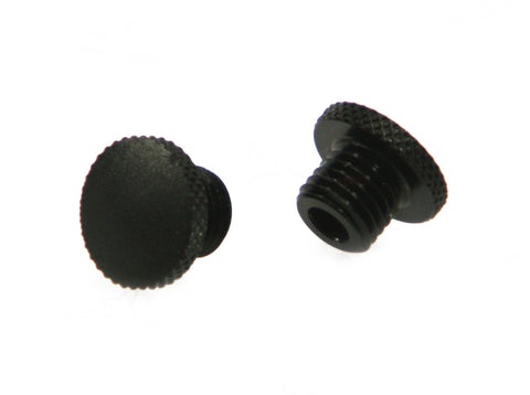 Black CNC Machined Billet Aluminium Threaded Mirror Block Off Plugs - 1 x M10 RH & 1 x M10 LH Thread