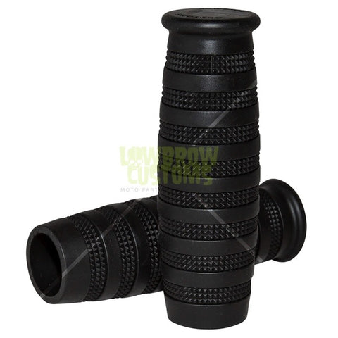"Lowbrow Customs Knurled Grips - Black - 22mm (7/8"")"