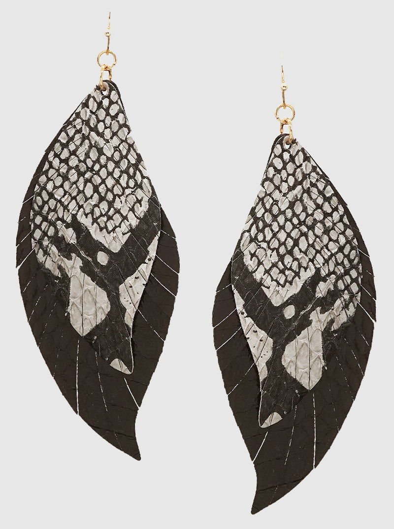 Black Snakeskin Dual Feather Earring