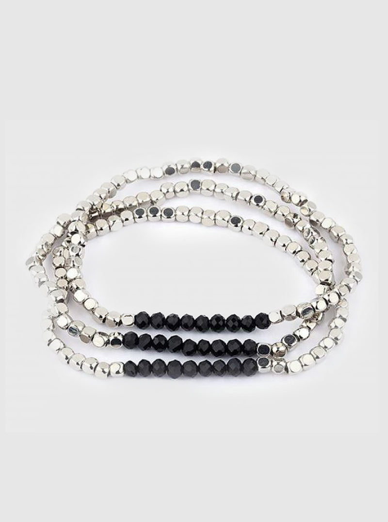 Silver with Black Bead Stretch Bracelet
