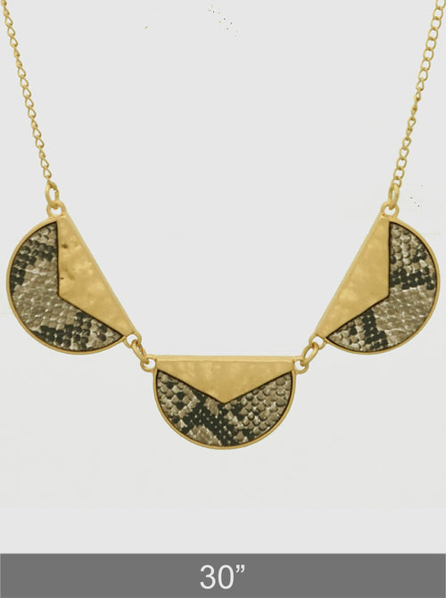Geo Snakeskin Long Necklace