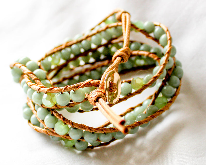 Jade Beaded Wrap Bracelet