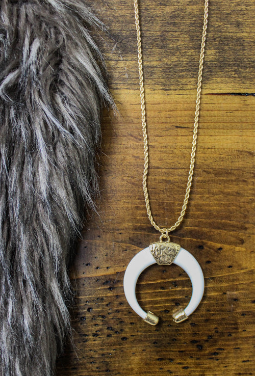 White Horn Pendant Necklace