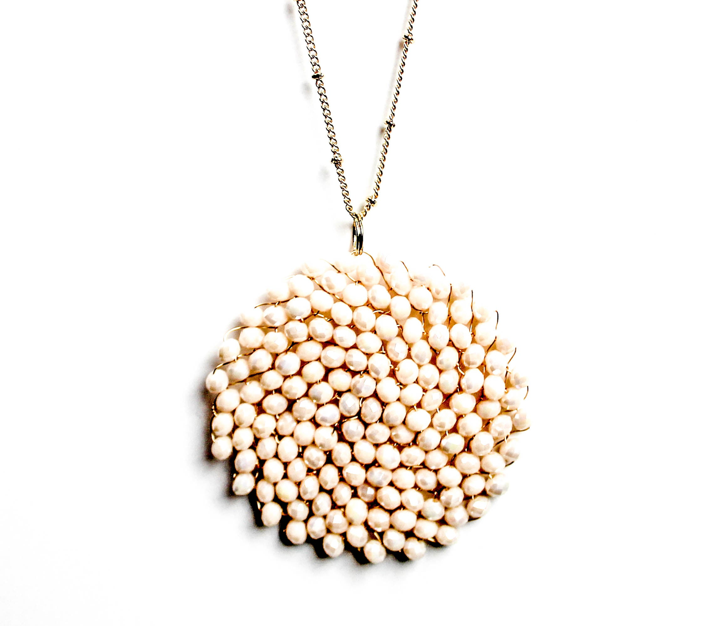 Ivory Beaded Pendant Necklace