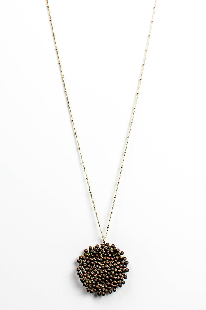Matte Brown Beaded Pendant Necklace