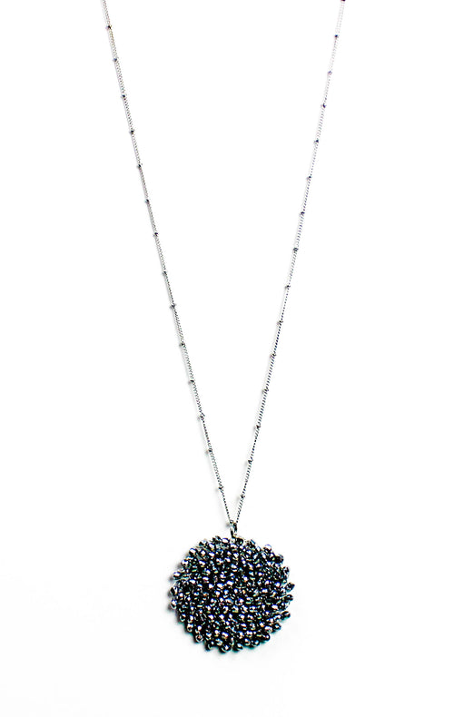 Silver Beaded Pendant Necklace