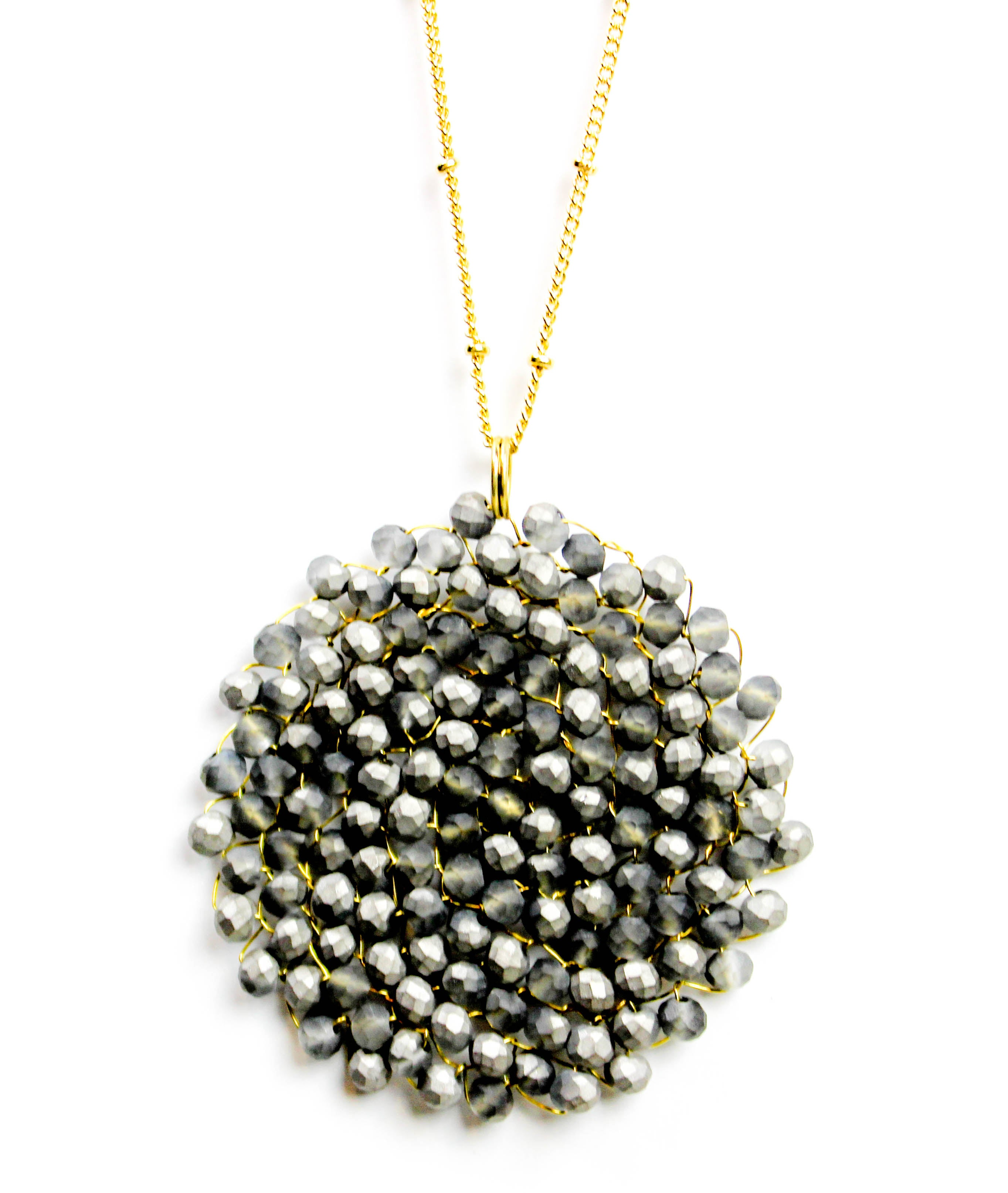 Charcoal beaded pendant necklace silo apparel charcoal beaded pendant necklace aloadofball Images