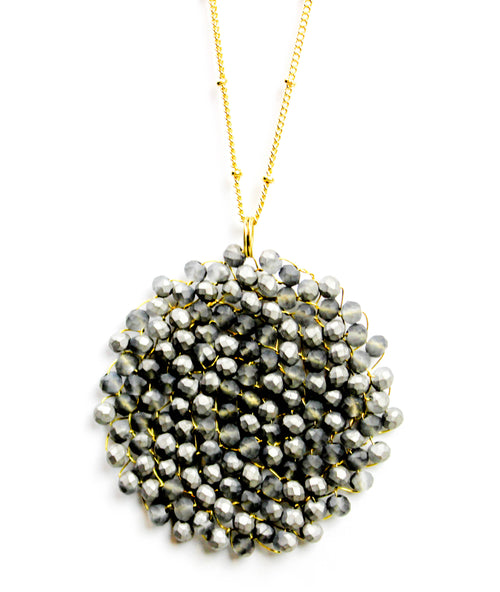 Charcoal Beaded Pendant Necklace