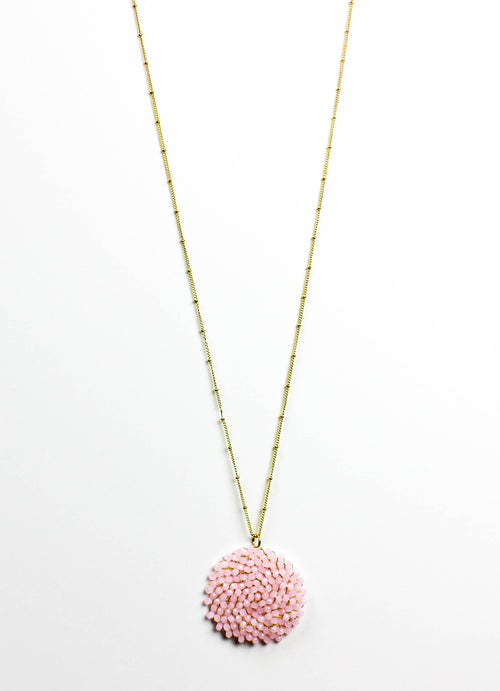Light Pink Beaded Pendant Necklace