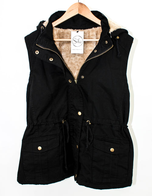 PLUS Black Fur Lined Vest