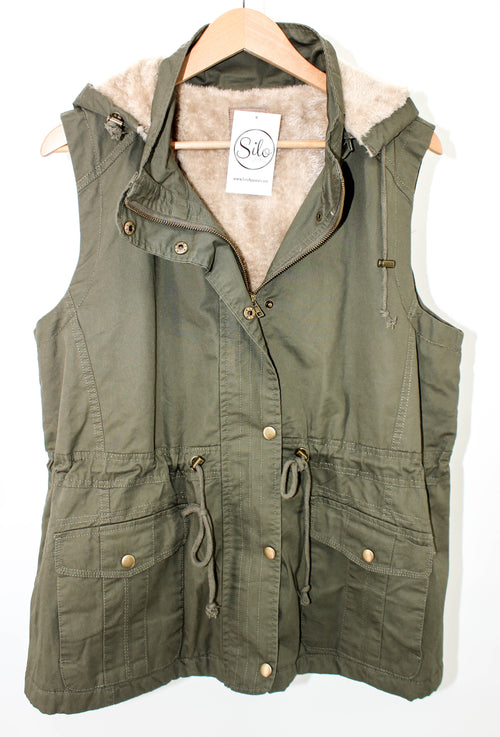 PLUS Olive Fur Lined Vest