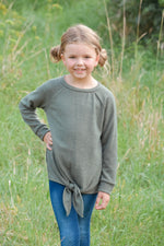 Girls Olive Tie Tunic Top